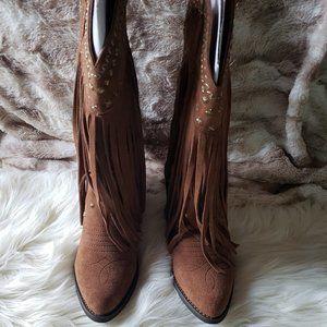 Very Volatile Fringe Leather Cowboy Boots